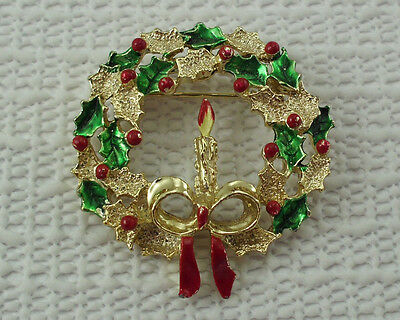 Enamel Wreath Brooch Christmas Pin Candle Bow GERRYS Vintage Holiday Jewelry