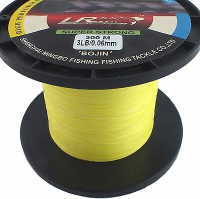 Lr Braid Fishing Line 3Lb 300M, High Vis Yellow Made From 100% Uhmwpe Dyneesi