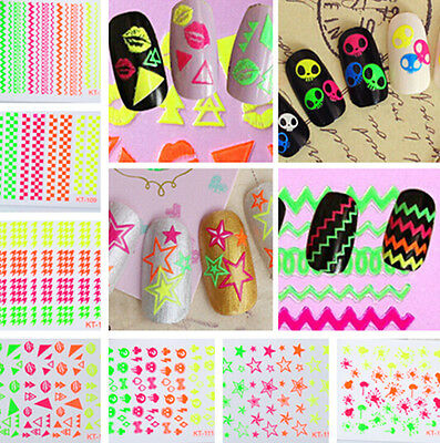 HS99 GLITTER 3D Nail Art Tips Stickers Decal Wraps Acrylic Manicure Decorations