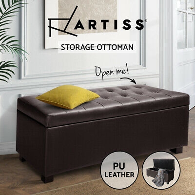 Blanket Box Ottoman Storage PU Leather Foot Stool Chest Toy Bed Large Brown
