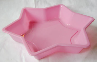 NEW STAR SHAPED SILICONE CAKE MOULD PAN TIN NON STICK PINK PMS 23cm