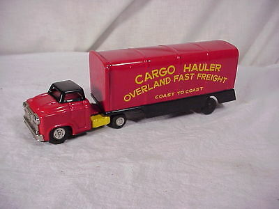 JAPAN TIN FRICTION OVERLAND FAST FREIGHT CARGO HAULER TOY TRUCK