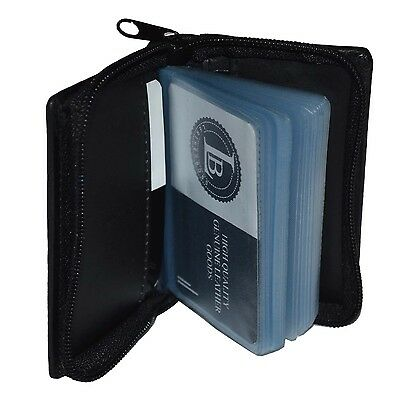 Credit Card Picture Holder All Around Zipper Black 30 Pages Genuine Leather