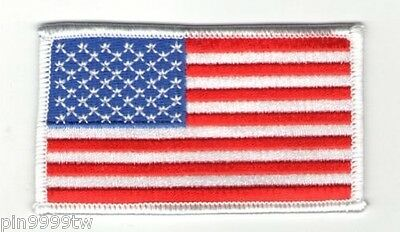 AMERICAN FLAG EMBROIDERED PATCH iron-on WHITE BORDER US UNITED 100% embroidered