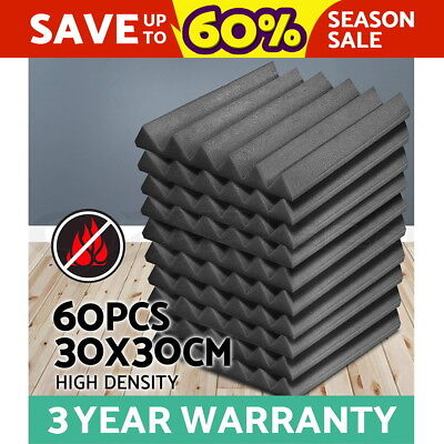 60x Studio Acoustic Foam Panel Tile Sound Absorption Treatment Proofing Charcoal