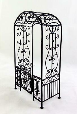 Dolls House Miniature Garden Furniture Black Wire Wrought Iron Arbour Arch Gates