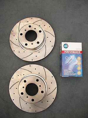 Drilled & Slotted Rear Disc Rotors + Brake Pads Holden Commodore VT VU VX VY VZ