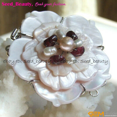 Natural Shell Carved Flower Fresh Water Pearl Clasp Jewelry Making FindingCa0002