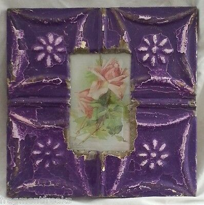 "Antique Ceiling Tin Picture Frame 4"" x 6"" Grape Purple A6"
