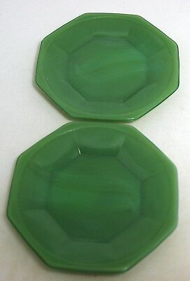 Akro Agate - Octagonal Child's Toy Plate - Green (2)