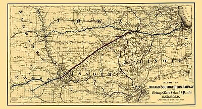 Old Railroad Map - Chicago and Southwestern Railway - Colton 1869 - 23 x 42.37