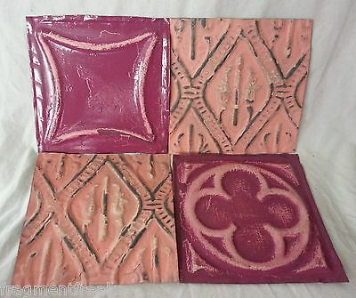 "4 Antique 6"" x 6"" Tin Ceiling Tiles* SEE OUR SALVAGE VIDEOS* QQ14 Pink Purple"