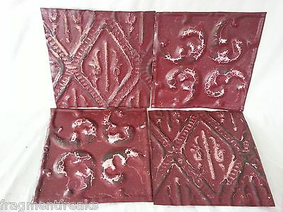 "4 Antique 6"" x 6"" Tin Ceiling Tiles* SEE OUR SALVAGE VIDEOS* QQ3 Burgundy"