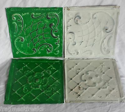 "Reclaimed 4 6"" x 6""  Antique Tin Ceiling Tiles  Green & White Ap18"