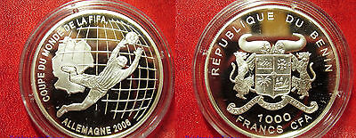 2006 Benin Large Proof Silver 1000 Fr World Cup Soccer Germany