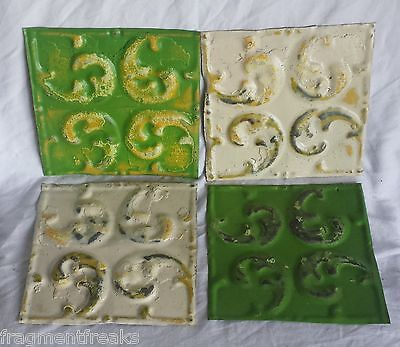 """4 6"""" x 6""""  Antique Tin Ceiling Tiles *SEE OUR SALVAGE VIDEOS*Green &Egg Nog AP19"""