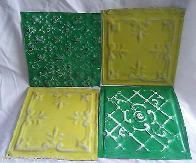 "4 6"" x 6"" Antique Tin Ceiling Tiles *SEE OUR SALVAGE VIDEOS* DD8 Green"