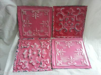 """4 6"""" x 6"""" Antique Tin Ceiling Tiles* SEE OUR SALVAGE VIDEOS* NN33 Pink"""