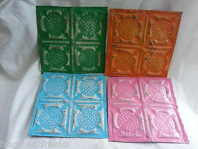 """4 6"""" x 6"""" Antique Tin Ceiling Tiles* SEE OUR SALVAGE VIDEOS* NN38 Multicolor"""