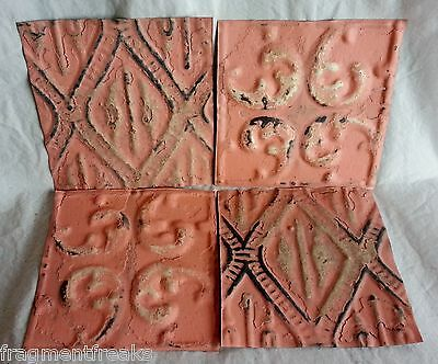 "4 6"" x 6"" Antique Tin Ceiling Tiles* SEE OUR SALVAGE VIDEOS* Dd2 Peach Pink Chic"