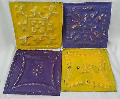 "4 6"" x 6"" Antique Tin Ceiling Tiles *SEE OUR SALVAGE VIDEOS* FF6 Purple Yellow"