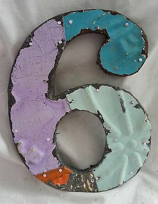 "Antique Tin Ceiling Wrapped 8"" Number '6' Patchwork Reclaimed Metal Mosaic Chic"