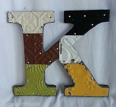 """Antique Tin Ceiling Wrapped 8"""" Letter K Patchwork Metal Mosaic Earth Tones"""