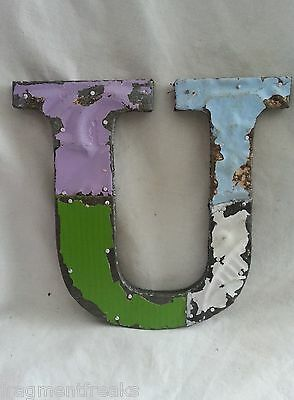"Antique Tin Ceiling Wrapped 8"" Letter ""U"" Patchwork Metal Mosaic"
