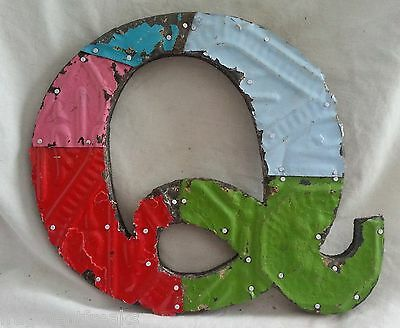 "Antique Tin Ceiling Wrapped 8"" Letter ""Q"" Patchwork Metal Mosaic"