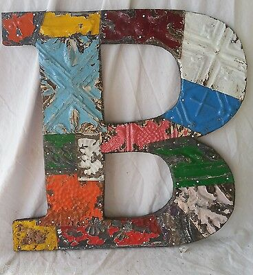 "Large Antique Tin Ceiling Wrapped 16"" Letter 'B' Patchwork Metal Chic"