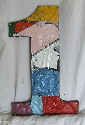 "Large Antique Tin Ceiling Wrapped 16"" Number '1' Patchwork Multi Color Chic"