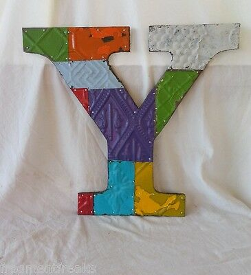 "Large Antique Tin Ceiling Wrapped 16"" Letter Y'' Patchwork Metal Mosaic Vintage"