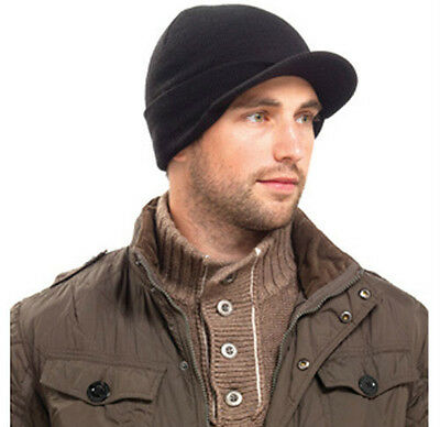 new black Mens peaked Beanie Hat cap Knitted with Peak,army cadet