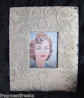 """LARGE Antique Ceiling Tin Picture Frame 8"""" x 10""""  Blush 18"""" x 23"""""""