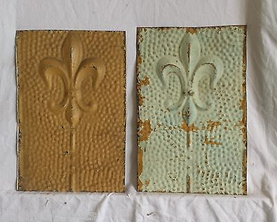 """2 6""""x 9"""" Antique Tin Ceiling Tiles *SEE OUR SALVAGE VIDEOS* A1 Mint and Camel"""