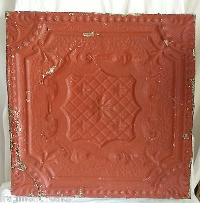 "23""x 23"" Antique Ceiling Tin Tile *See Our Videos* Vintage Metal Burnt Orange A8"