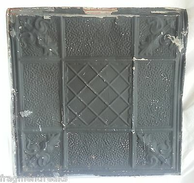 "24""x 24"" Antique Ceiling Tin Tile Reclaimed Black Metal Vintage"