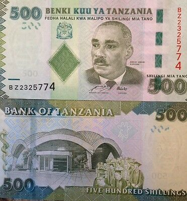 Tanzania 2010 500 Shillings Uncirculated Banknote P-40 Buy From A Usa Seller !!