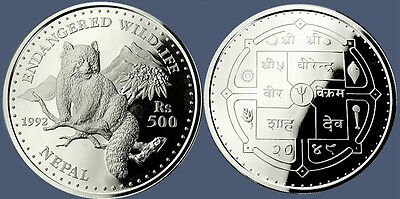 1992 Nepal Large Silver Proof  500 Rs-Red Panda