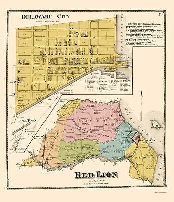 DELAWARE STATE MAP GLOSSY POSTER PICTURE PHOTO BANNER city county dover bay 3324