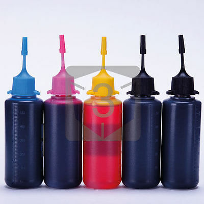 5 x 50ml Bottle Dye Base Ink for Epson Refillable Ink Cartridges CIS CISS