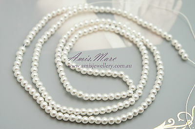 *190pcs Beads 4mm White Sewing ABS Imitation Plastic Round Loose Pearl Beads*