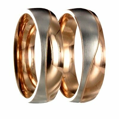 2 x Edelstahl bicolor silber / roségold Partnerring Trauring incl. Gravur 20P068
