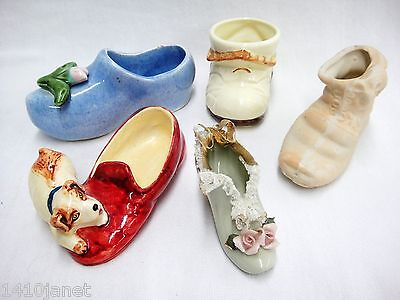 Vintage Lot of 5 Porcelain Collectible Shoes Collection 1 with Dresden Lace