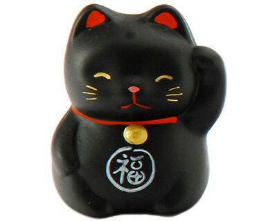 "Japanese 2""H Black  Maneki Neko Cat Lucky Fortune/Made In Japan"