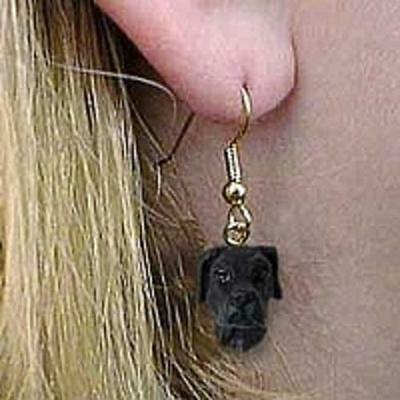 DHEH100A Great Dane Black Uncropped Earrings Hanging