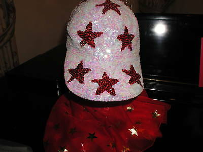 GLITTERING CRYSTAL WHITE SEQUIN BASEBALL CAP WITH RED STARS
