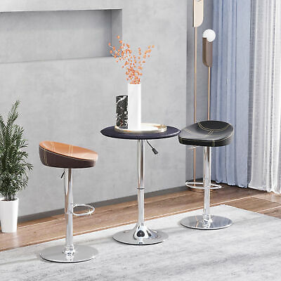 "HOMCOM Adjustable Bar Table Vinyl Covered Top Chrome Base Home Pub 26""-37"" BK"