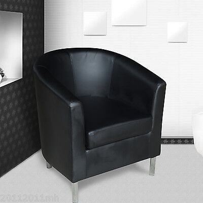 Faux Leather Tub Club Chair Armchair Dining Living Room Office Reception BK