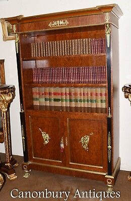 French Empire Walnut Bookcase Cabinet